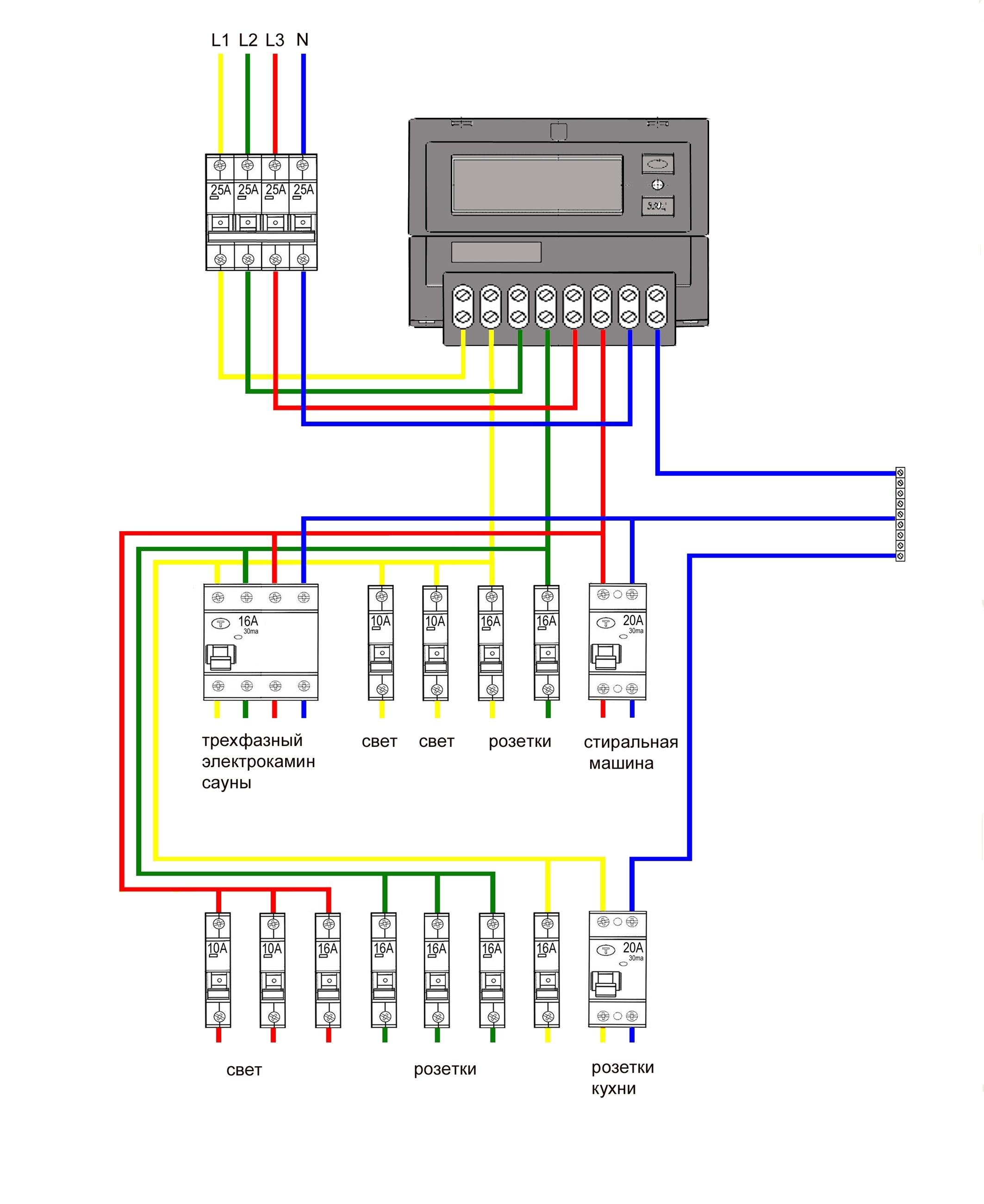 Схема подключения электросчетчика 67
