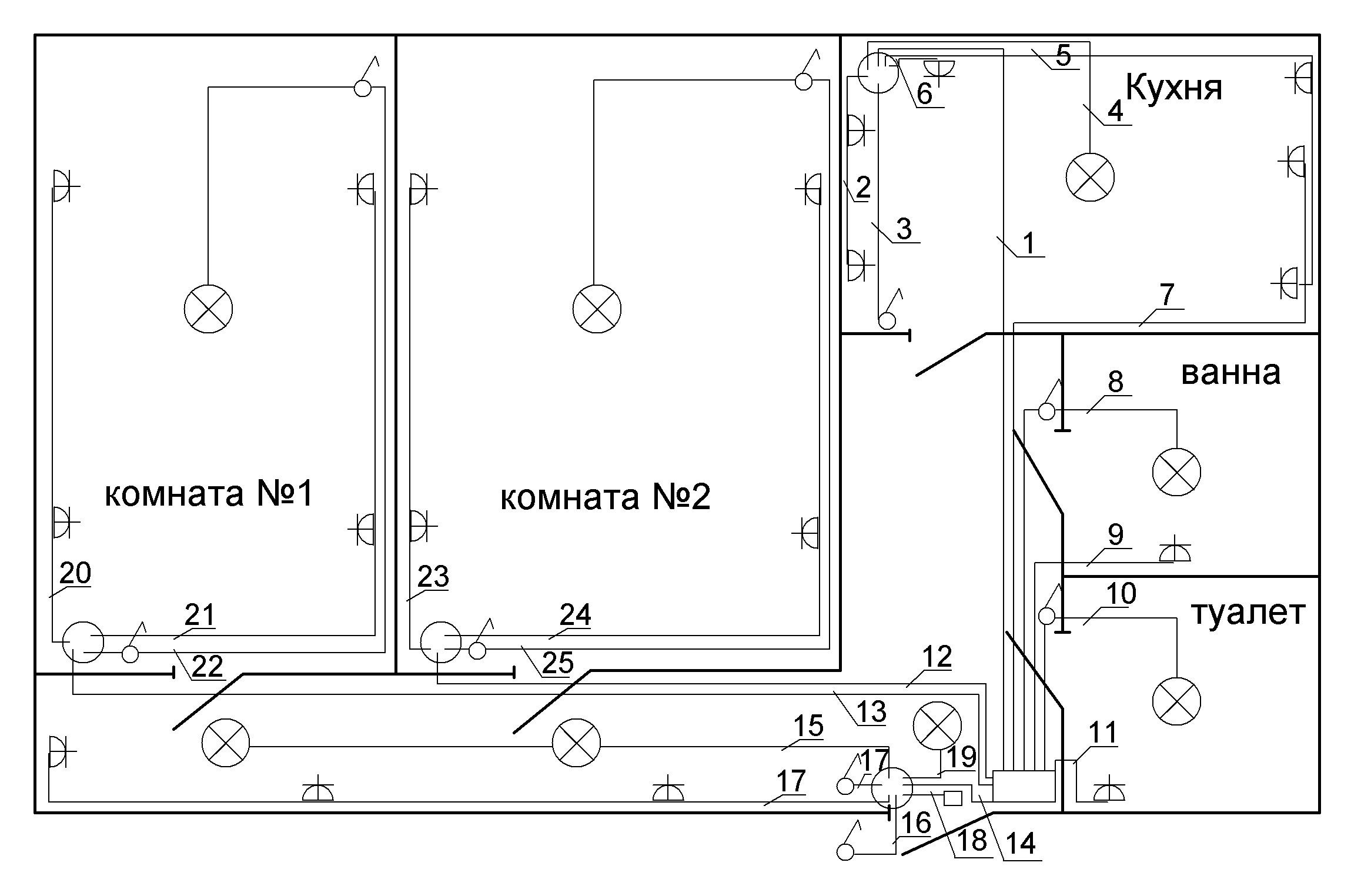 Как сделать слепСхема разводка электропроводки в частном