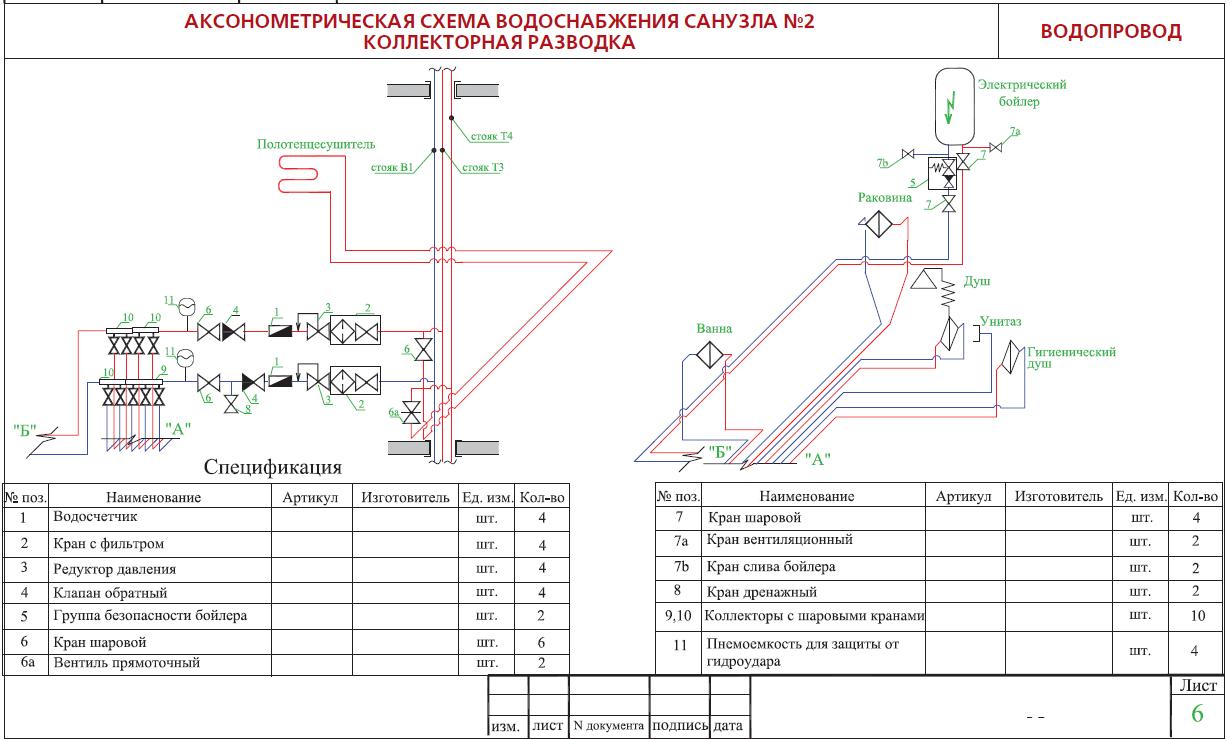 схема отопление с бойлером и полотенцесушителем
