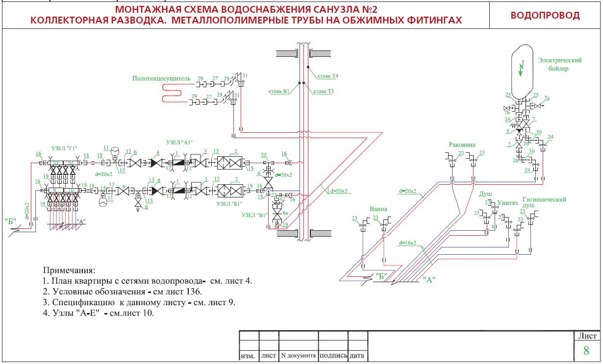 схема водоснабжения с насосом в квартире