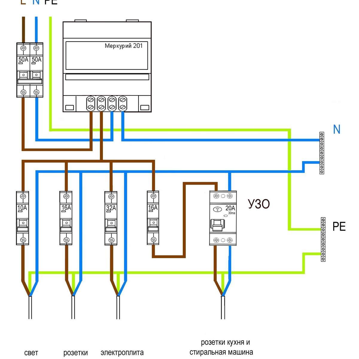 Схема подключения электросчетчика 90